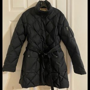 BURBERRY Black Long Quilted Down Jacket Size M